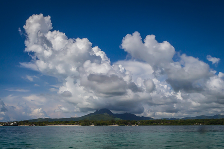 Clouds over mountains on Mauritius island