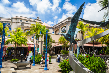Port Louis, Mauritius - February 12, 2018 - Caudan Waterfront, main shopping district of the capital city