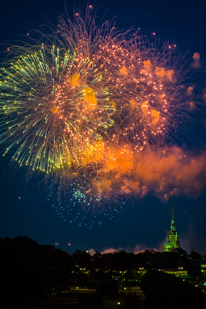 firework display in the evening sky over Peter and Paul fortress during celebrations of the Navy Day