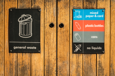 rubbish bin in a London park; signs for paper, plastic, cans, and general waste