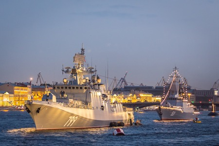 SAINT-PETERSBURG, RUSSIA, July 24, 2018: navy ships moored on Neva river in preparation for a parade