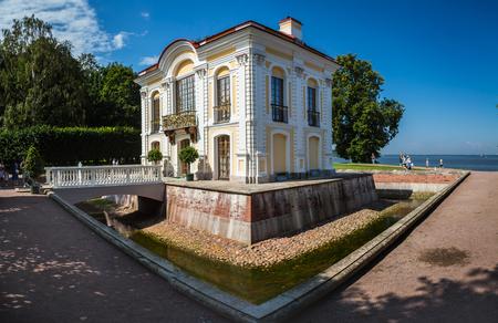 SAINT- PETERSBURG, RUSSIA - JULY 22, 2018: Peterhof Hermitage pavilion in the lower garden of Peterhof, Saint-Petersburg, Russia