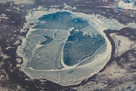 Aerial view of a frozen lake near Omsk, Russia Reklamní fotografie