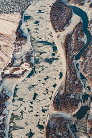aerial view of a frozen river in Omsk Region, Russia Reklamní fotografie