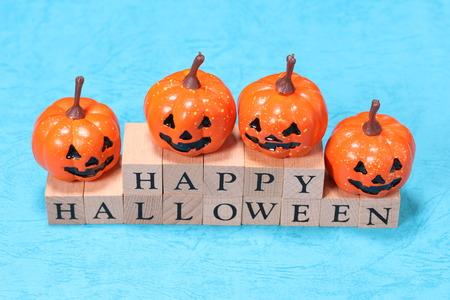 Halloween pumpkin and Happy Halloween text