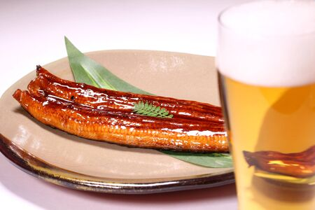 Grilled eel and glass of beer