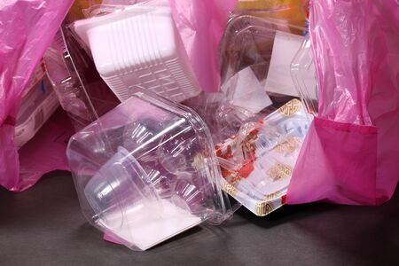 Plastic containers prepared for recycling
