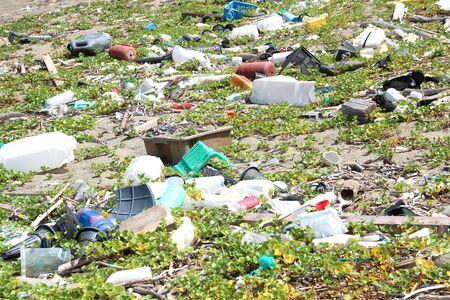 Trash on the beach, Japan Stok Fotoğraf