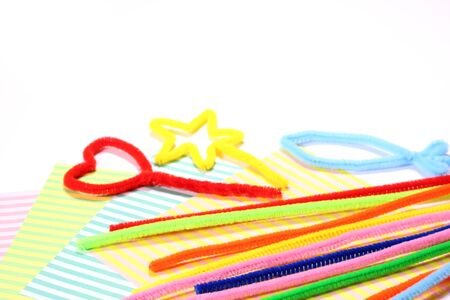 pipe cleaners and origami (Japanese craft paper)