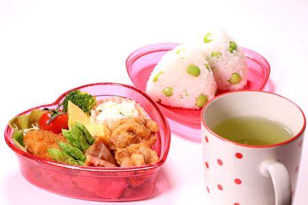Heart Shaped Bento Box (Japanese Lunch Box) and Tea Stock fotó