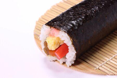 Futomaki sushi roll on bamboo blind