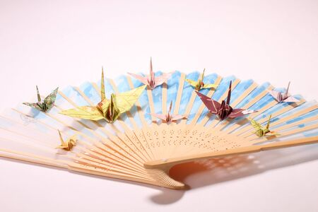 Paper cranes and japanese fan