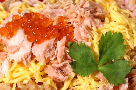 Harakomeshi, rice with seafood (salmon and salmon roe) Imagens