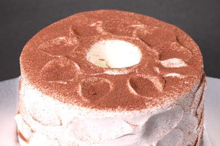 Chiffon cake with fresh cream