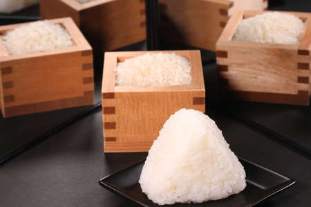 Japanese rice ball and Japnese rice reflecting in the mirror