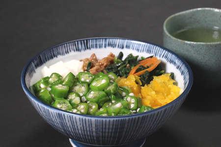 Japanese style healthy rice ,Okra yam natto bowl