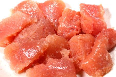Chopped cod roe on white background