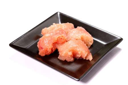 Chopped cod roe on a plate