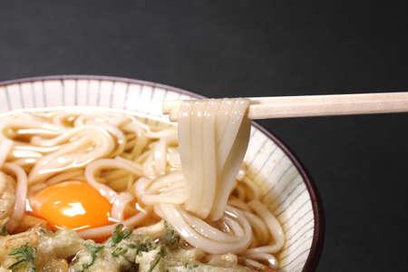 Japanese food, Udon noodles with chopsticks