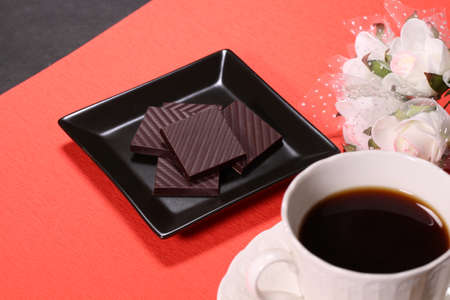 Chocolate  and a cup of coffee