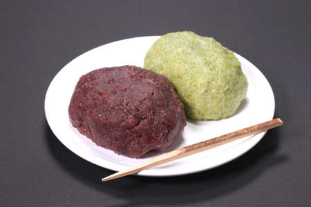 Japanese food Ohagi, rice cake with bean paste