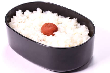 Hinomaru bento, Japanese steamed rice with pickled plum Zdjęcie Seryjne