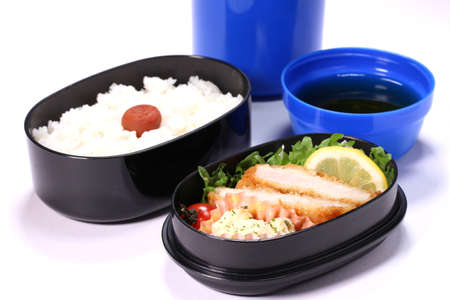 Japanese homemade bento(lunch box) with pork cutlet Zdjęcie Seryjne