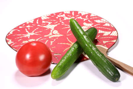 Cucumber and tomato and japanese fan