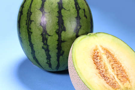 Fresh green melon and small watermelon