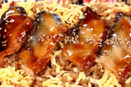 Unadon, japanese food, grilled eel served over rice with egg