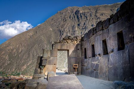 Stone gate of a temple at Ollantaytambo, citadel of the Sacred Valley of the Incas. Peru