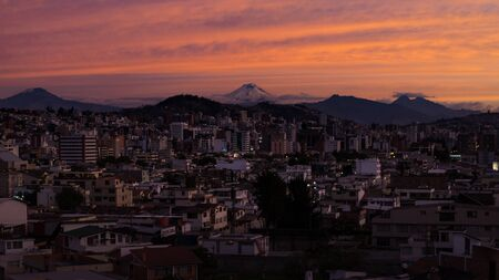 Panoramic view of the city of Quito, Pichincha, Ecuador. March 11, 2018. Sunset