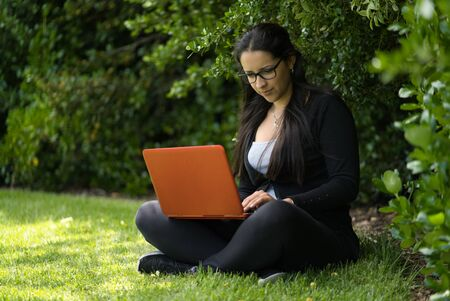 A brunette young woman is sitting on the grass studying with her laptop in the park. She seems to be concentrated. Educational concept