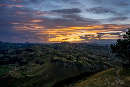 Amazing sunset at the top of the Te Mata Peak. Hastings, Hawke's Bay. New Zealand.