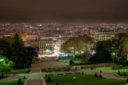 View of Paris from the Sacre-Coeur Basilica in France. Stock Photo