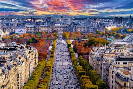 champs elysees: Paris, France - Champs Elysees cityscape.