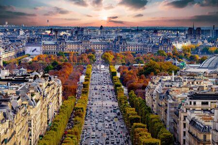 elysees: Paris, France - Champs Elysees cityscape.