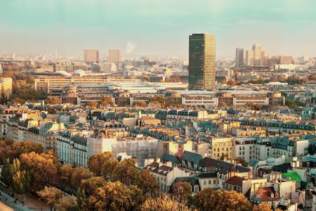 Vintage Paris, France shot from Notre-Dame Cathedral. Sunset colors. Autumn shot.
