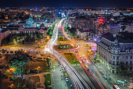 Aerial view of the Universtity Square in the capital city Bucharest, Romania.