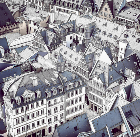Frankfurt, Germany architectural view. Aerial view of the old city center with sketch effect applied. Stock fotó