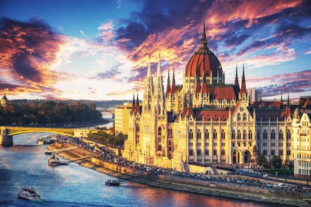 Aerial view of the Parliament building at sunset in Budapest, Hungary