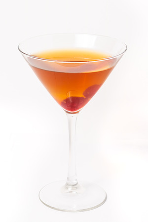 Cocktail with raspberry on white background