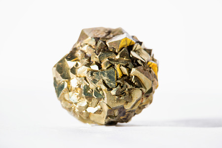 close up isolated view of a pyrite cluster in sphere shape