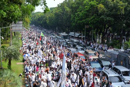 Jakarta, Indonesia - December 2, 2018: thousands of Indonesian Muslims gather again in Jakarta, the grand reunion 212