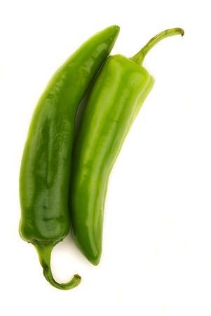 Nestled New Mexican Green Chile - Isolated on White Stock Photo