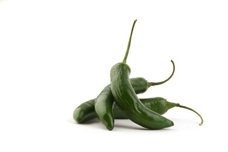 Spiraled Serrano Chile Peppers - Isolated on White