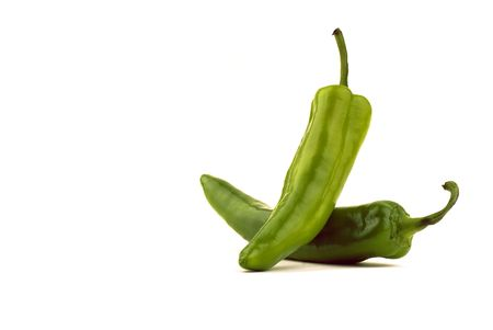 Balanced New Mexican Green Chile - Isolated on White Stock Photo