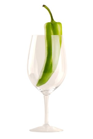 New Mexican Green Chile In Wine Glass - Isolated on White Stock Photo