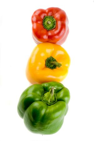 Bell Pepper Stoplight - Red, Yellow and Green Isolated on White Stock Photo - 2986561