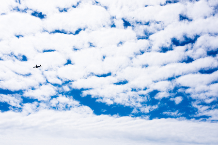 Beautiful clouds and airplanes Stock Photo